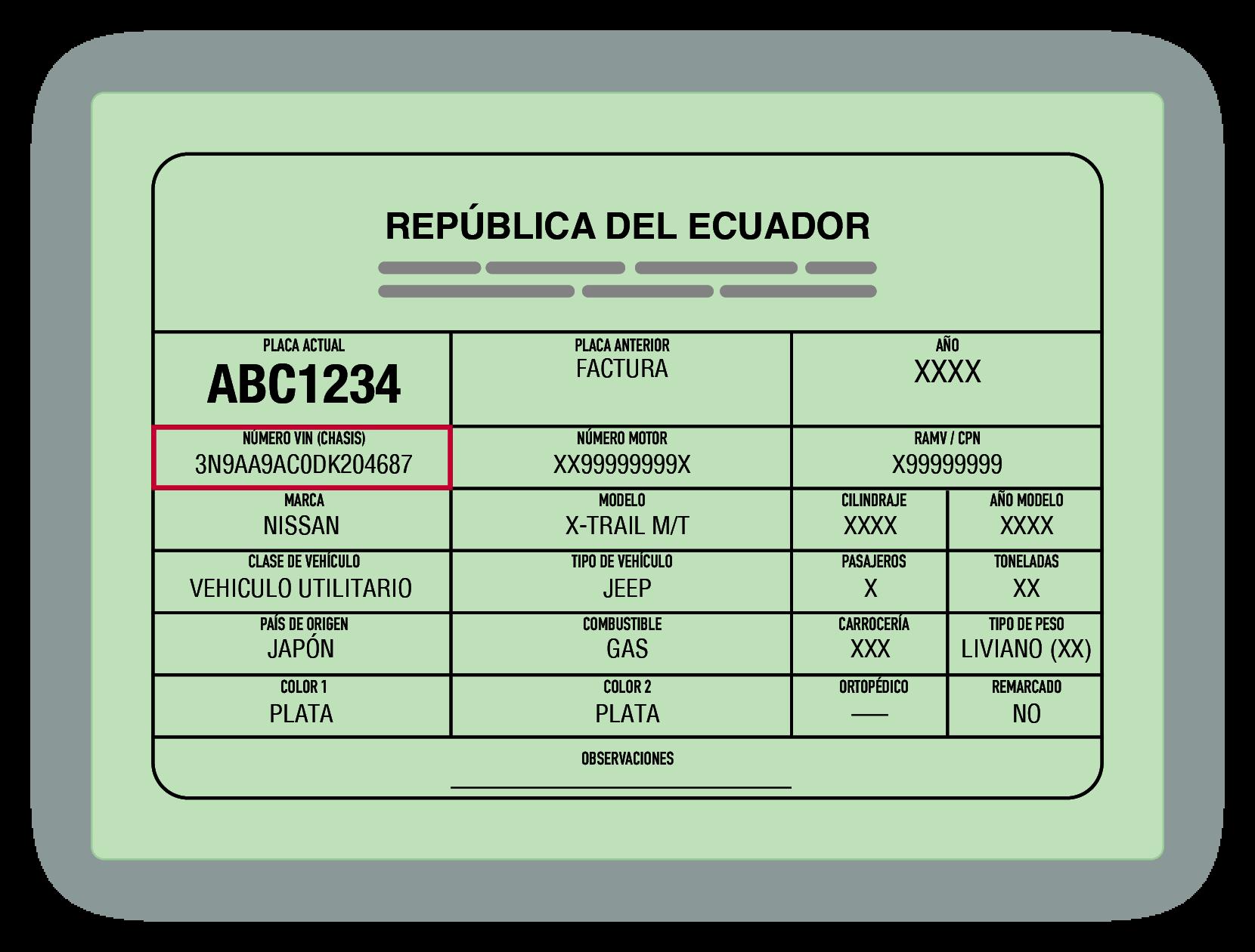 Matricula de muestra con el VIN de Ecuador